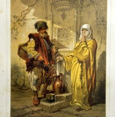 A chromolithograph by Count Amadeo Preziosi depicting two Ottoman figures in traditional costumes.