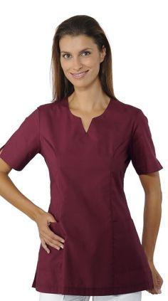 Casacca Donna Per Estetica Sfiancata e a Mezza Manica Bordeaux Tiffany, Bordeaux, Cold Shoulder Dress, Tunic Tops, V Neck, Dresses, Women, Fashion, Nursing Uniforms