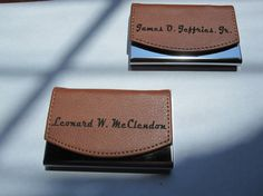Leather Business Card Holder - Free Engraving - Personalized Brown Genuine Leather Graduation - Choose your own Font - Up to 2 Lines of Text, $9.95