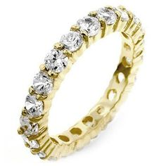 18k Gold Plated to .925 Sterling Silver Eternity Ring with 3mm Clear Cubic Zirconia Polished into a Lustrous Goldtone Finish