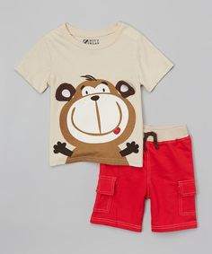 Look what I found on #zulily! Beige Monkey Tee & Shorts - Infant #zulilyfinds