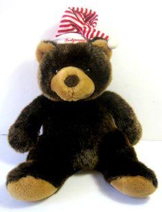 "Montgomery Wards Plush Brown Bear with Christmas Hat 20"" Stuffed Bear 1997  #Commonwealth #Christmas"