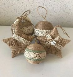 Set of 5 Twine Ornaments for Rustic Christmas Decor Country Country Christmas . Set of 5 Twine Ornaments for Rustic Christmas Decor Country Country Christmas Decoration Housewarming Gift Star Ornament. Rustic Christmas Ornaments, Country Christmas Decorations, Farmhouse Christmas Decor, Christmas Diy, Farmhouse Decor, Christmas Budget, Burlap Christmas Decorations, Homemade Xmas Decorations, Christmas Wreaths