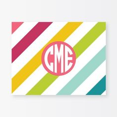 Personalized Notecard Set - Happy Stripes for $24.00 from The TomKat Studio Party Shop