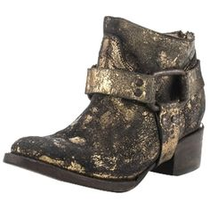 Pre-owned Freebird New By Steven Phoenix Low/phlow Distressed Leather... ($235) ❤ liked on Polyvore featuring shoes, boots, ankle booties, black multi, black ankle boots, western boots, black western boots, black booties and vintage cowboy boots