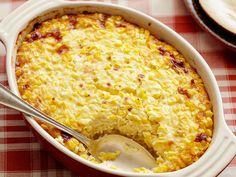 Sweet Corn Pudding-6 ears corn kernels; 1/2 cup milk; 1/2 cup cream; 1/2 cup cheddar; 1/2 tsp cayenne; 2 eggs beaten; salt/pepper. 350 for 35 min.