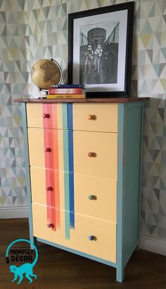 rainbow retro chest of drawers (dresser) inspired by old polaroid add Dresser Drawers, Chest Of Drawers, Monkey Decorations, Hand Painted Furniture, Polaroid, Rainbow, Inspired, Retro, Inspiration