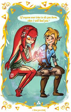 Link and Mipha by mayshallwin.deviantart.com on @DeviantArt