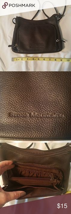 Stone Mountain purse Brown leather,  zippered organizer area in front. Excellent condition. Stone Mountain Accessories Bags Mini Bags