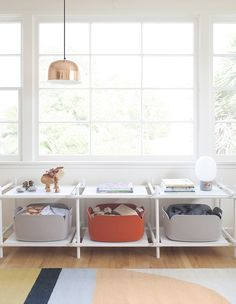 Today we are excited to share this DARLING one of kind nursery designed by Sharon Montrose from the Animal Print Shop. We love the fresh modern clean lines…when it came to creating this space… Kids Storage, Storage Design, Storage Baskets, Playroom Storage, Nursery Organization, Toy Storage, Storage Ideas, Modern Nursery Decor, Nursery Design