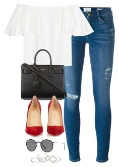 Untitled #3215 by magsmccray on Polyvore featuring polyvore fashion style Valentino Frame Christian Louboutin Yves Saint Laurent Emily Amey Jewelry Ray-Ban clothing