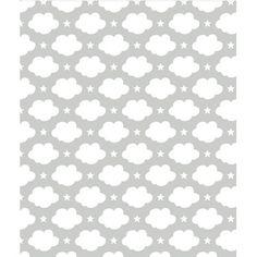 Lé de papier peint intissé Nuages & étoiles (blanc)