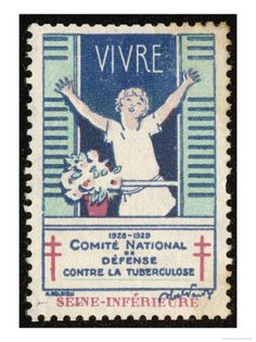 French Postage Stamp Promoting Fresh Air and Sunshine to Fight Tuberculosis: sadly, fresh air and sunshine never proved as effective as antibiotics