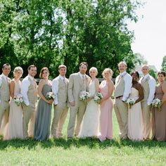 Mismatched long chiffon bridesmaid gowns and casual groomsmen attire // Kirsten Marie Photography