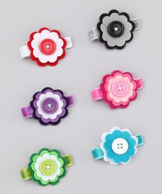 Three Layer Button Flower Clip Set (idea)
