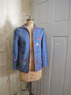 1950s Embroidered Mexican Jacket in Blue