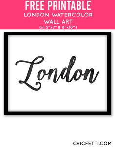 Free Printable London Watercolor Art from @chicfetti - easy wall art DIY