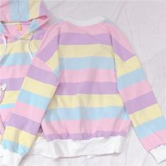 Rainbow Candy Striped Kawaii Hoodie Pro Tip: Asian sizes usually run small compared to American or European sizes. Pastel Hoodie, Pastel Shirt, Pastel Outfit, Harajuku Fashion, Kawaii Fashion, Cute Fashion, Fashion Outfits, Fashion Styles, Fall Outfits