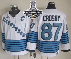 Penguins  87 Sidney Crosby White Light Blue CCM Throwback 2016 Stanley Cup  Champions Stitched · Cheap Nba JerseysNhl ... 34fa8bd1f