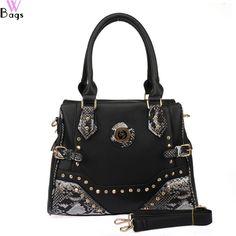 Rhinestone Rivets Detail snakeskin handbag-black