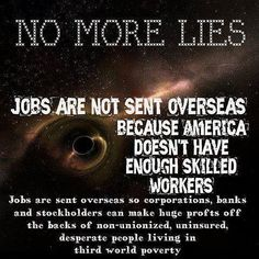 Truth be told...REPUBLICAN BUSH ADM.GAVE TAX CUTS TO SEND JOBS OVERSEAS!! Only to boost profits...GREED!!! THX THE REPUKES WHO REFUSE TO BRING JOBS BACK TO AMERICANS!!!