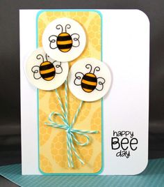 Happy Bee Day balloon card by JanaM - Cards and Paper Crafts at Splitcoaststampers