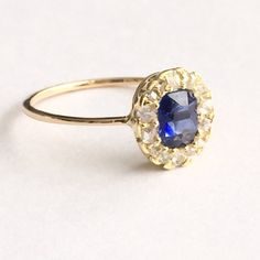 Vintage Sapphire and Diamond Halo Engagement Ring by BrocktonGems