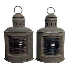 Pair of late century antique copper nautical port and starboard oil lanterns with original red and blue lenses. Nautical Lanterns, Old Lanterns, Hurricane Lanterns, Diy Garage Storage, Sea Captain, Copper Glass, Emergency Lighting, Antique Copper, Brass