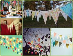 I love pennant banners.     Tutorial: How to make a no-sew paper flag pennant banner