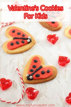 These cookies are so easy to make and can be mixed together in a food processor... no hard graft needed! My daughter had so much fun helping to make these love bug cookies and we're planning to whip up another batch just in time to give to her friend's for Valentine's Day! Easy Meals For Kids, Easy Family Meals, Kids Meals, Valentines Day Food, Valentine Cookies, Fussy Eaters, Picky Eaters, Fun Activities For Kids, Kids Fun