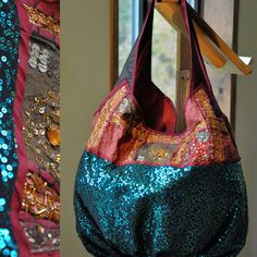 Funky and stylish bags with green sequin vintage by Kuchidesign, $125.00