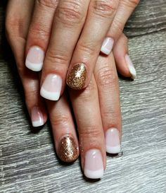 French tips with rose gold sparkle accent nail. Classy nails. Wedding nails. Squoval nails. Short gel nails. Nails by Ailesh