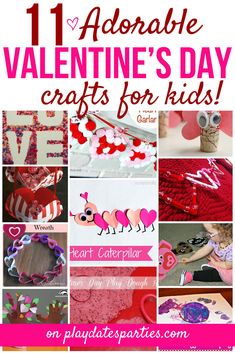 Whether you have toddlers or older kids, you will all have fun with these 11 easy and adorable Valentine's Day crafts for kids! #ValentinesDay #crafts #toddlers #kids  https://playdatesparties.com/11-valentines-day-crafts-for-kids/