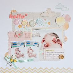 scrap communication. lovely baby layouts on this blog