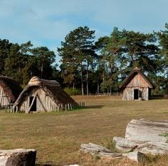 This is a reproduction of what the Anglo-Saxon village at Hildersham might have looked like Anglo Saxon History, England, Cabin, House Styles, Image, Farming, Buildings, Google Search, Cabins