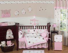 MODERN PINK BROWN POLKA DOT BABY BEDDING CRIB SET FOR NEWBORN GIRL JOJO DESIGNS