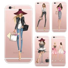 Transparent case for the Iphone 7 7 Plus fashionable dress shopping girl case silicone soft Tpu rubber phone cover