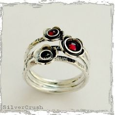Sterling silver ring, multi stones ring, gemstones ring, garnets peridot ring, mothers ring, birthstones ring, floral ring - Guess R1686-3