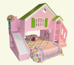 Girls cottage bunk beds with slide ~ lots of neat built ins for kids beds on this site!