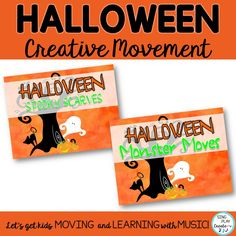 Boo! It's Halloween creative movement activity time. These Ghostly scarf directional cards and Monster movement cards will keep your students busy burning off Halloween excitement! #singplaycreate, #musicedhalloween   #halloweenmusicactivities, #musicedhalloweensongs, #musicedhalloween, #halloweenmusiclessons, #halloweensongsandactivities, #halloweenmusic, #halloweenmusicandmovement   #musiceducation   #elementarymusiceducation   #musicandmovement  #movementactivities…