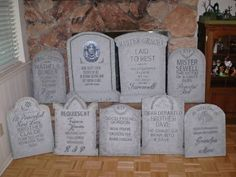 Prop Showcase: Madame Leotas finished tombstones for Halloween Forum member halloween tombstones ideas Haunted Mansion Decor, Haunted Mansion Halloween, Halloween Graveyard, Halloween Tombstones, Nightmare Before Christmas Halloween, Holidays Halloween, Happy Halloween, Halloween Forum, Halloween Crafts