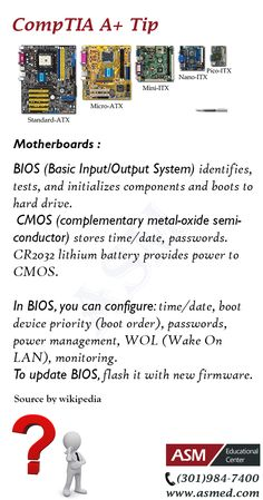CompTIA A+Training / Tip -Learn about Motherboards . For more information to get certified for Microsoft, CompTIA A+, Network+, Security+ and Cisco CCNA, CCNP   Please visit: http://www.asmed.com/information-technology-it/