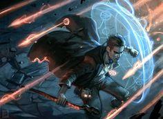 m Wizard mage casting shield spell Harry Dresden sketches by Dan Dos Santos, via Muddy Colors.