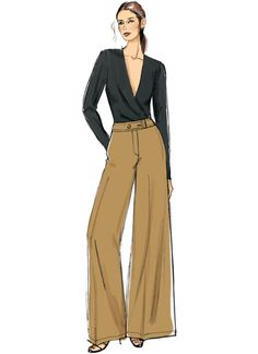 MISSES'/MISSES' PETITE WIDE LEG PANTS Semi-fitted pants have fly front, flared leg and waistband, pocket and length variations. A, B: Button waistband. B: Side seam pockets. C: Hook and bar waistband closure, front yoke pockets. Dress Design Sketches, Fashion Design Sketchbook, Fashion Design Drawings, Fashion Sketches, Vogue Fashion, Look Fashion, Fashion Models, World Of Fashion, Fashion Show