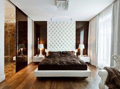 luxus-schlafzimmer klein schwarze akzentwand marmor bodenfliesen ... - Schlafzimmer Luxus Modern