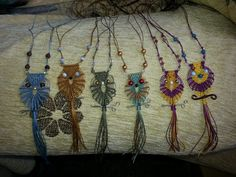 Macrame owl necklace Owl Necklace, Crochet Necklace, Macrame Owl, Dream Catcher, Projects, Jewelry, Log Projects, Dreamcatchers, Blue Prints