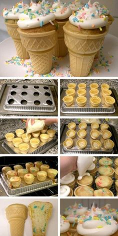 Ice cream cone cupcakes. i want to do these instead for owen's next party! too cute