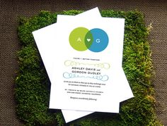 Venn Diagram Wedding Invitation. $3.75, via Etsy. Font combo inspiration.