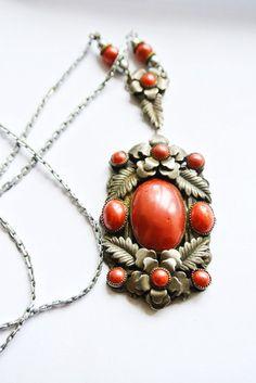 Vintage Art Deco Czech Brass Filigree necklace | eBay