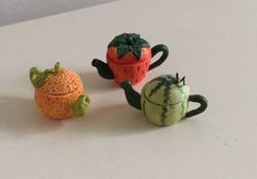 Dolls house miniature 1:12 set of three handmade, Artisan teapots, each made in the style of a fruit: a melon, orange and strawberry. | eBay!